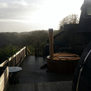 Wood-fired hot tub with a view, Forest of Dean, Dec/Jan 2013