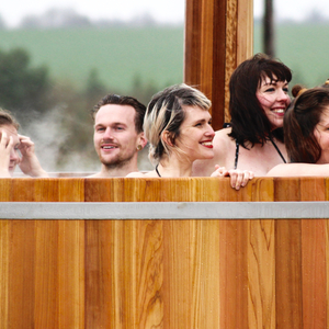 Outdoor spa at Bourn   February 2017   Bathing under the Sky