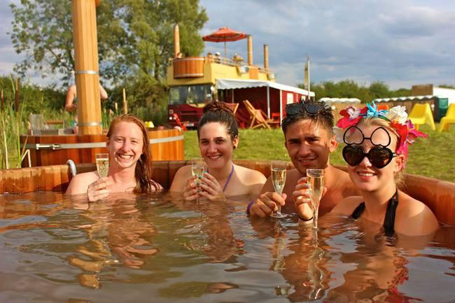 Wooden hot tub at festivals